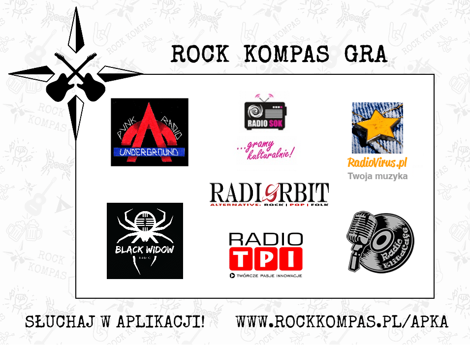 Rock Kompas gra - radia internetowe. Black Widow Radio, Radio Elita Cafe, Radio Orbit, Radio SOK, Punk Radio Underground, Radio TPI, RadioVirus.pl