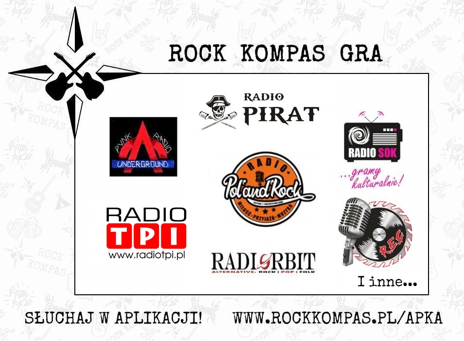 Rock Kompas gra - radia internetowe. Radio Elita Cafe, Radio Orbit, Radio Pol'and'Rock, Radio SOK, Punk Radio Underground, Radio TPI
