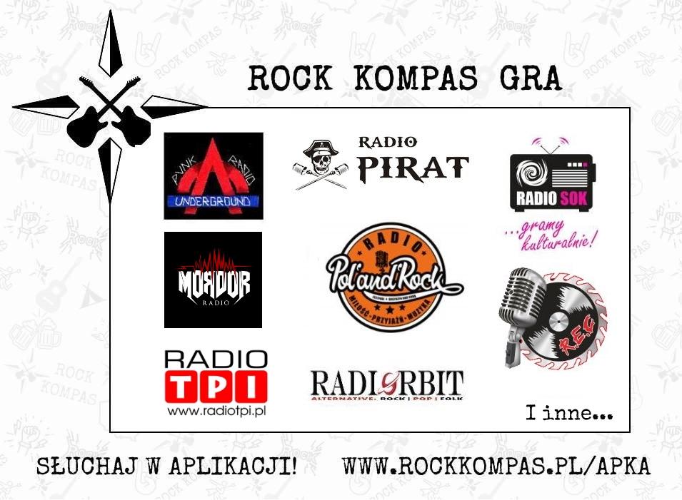 Rock Kompas gra - radia internetowe. Radio Elita Cafe, Radio Orbit, Radio Pol'and'Rock, Radio SOK, Punk Radio Underground, Radio TPI